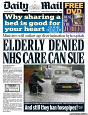 Daily Mail Newspaper Front Page (UK) for 12 June 2012