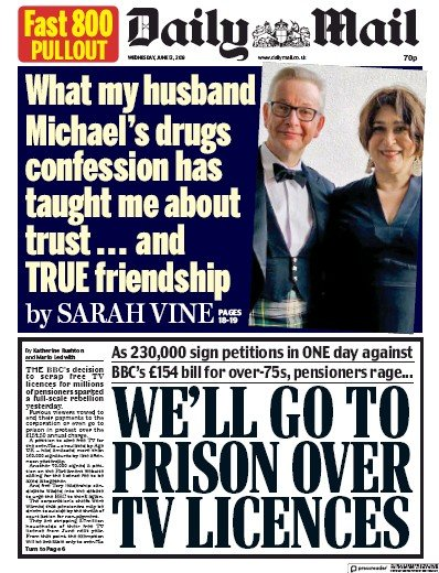 Daily Mail Newspaper Front Page (UK) for 12 June 2019