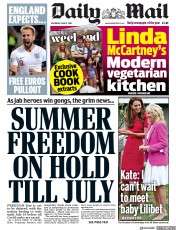Daily Mail () Newspaper Front Page for 12 June 2021