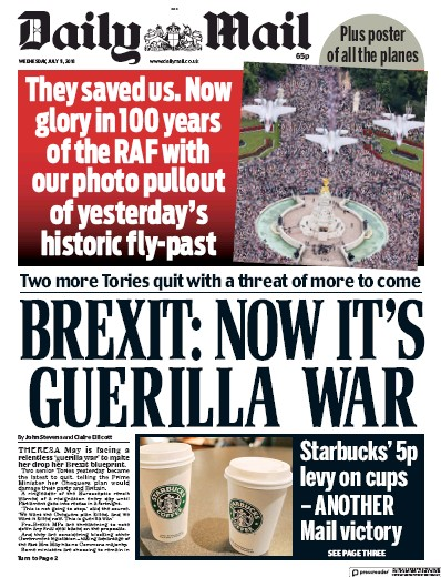 Daily Mail Newspaper Front Page (UK) for 12 July 2018
