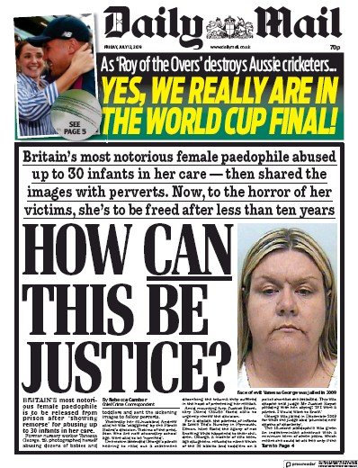Daily Mail Newspaper Front Page (UK) for 12 July 2019