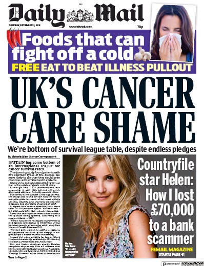 Daily Mail Newspaper Front Page (UK) for 12 September 2019