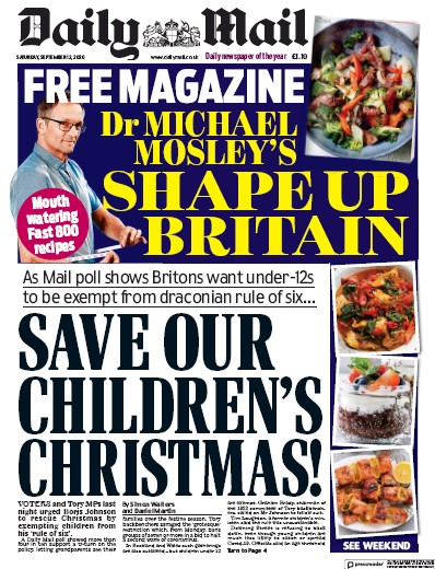 Daily Mail Newspaper Front Page (UK) for 12 September 2020