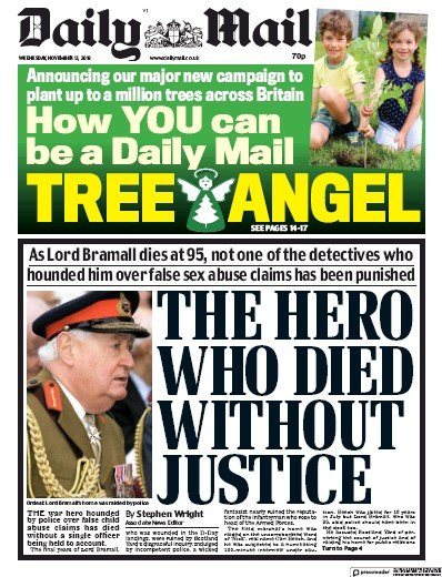 Daily Mail Newspaper Front Page (UK) for 13 November 2019