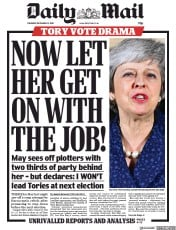 Daily Mail (UK) Newspaper Front Page for 13 December 2018