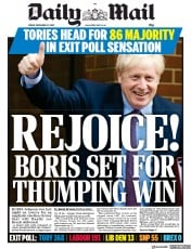 Daily Mail (UK) Newspaper Front Page for 13 December 2019