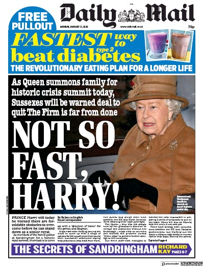 Daily Mail Newspaper Front Page (UK) for 13 January 2020