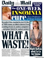 Daily Mail (UK) Newspaper Front Page for 13 February 2017