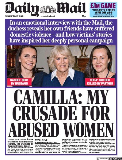 Daily Mail Newspaper Front Page (UK) for 13 February 2020