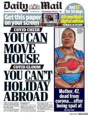 Daily Mail (UK) Newspaper Front Page for 13 May 2020