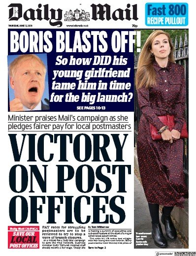 Daily Mail Newspaper Front Page (UK) for 13 June 2019
