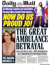 Daily Mail (UK) Newspaper Front Page for 13 July 2017