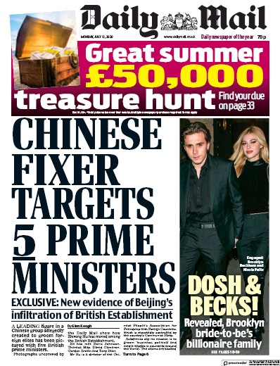 Daily Mail Newspaper Front Page (UK) for 13 July 2020