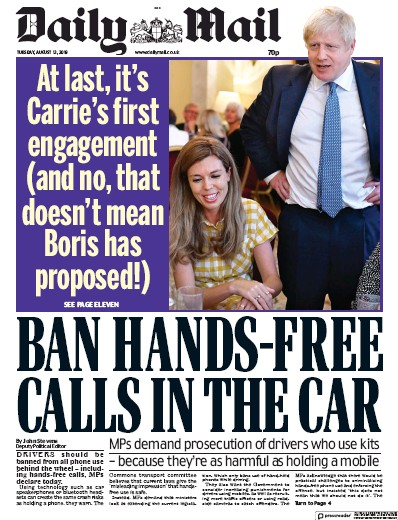 Daily Mail Newspaper Front Page (UK) for 13 August 2019
