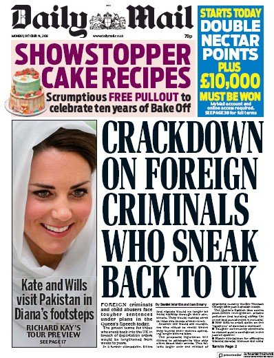 Daily Mail Newspaper Front Page (UK) for 14 October 2019