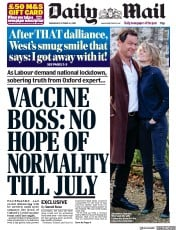 Daily Mail front page for 14 October 2020