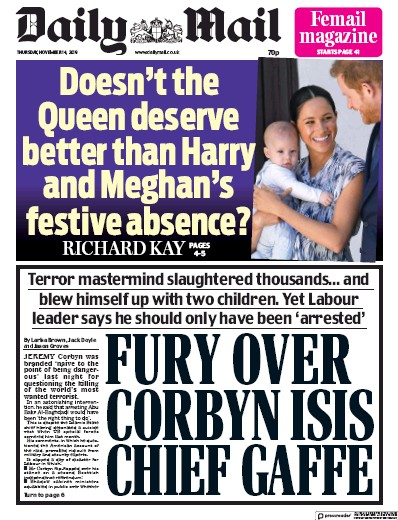 Daily Mail Newspaper Front Page (UK) for 14 November 2019