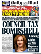 Daily Mail (UK) Newspaper Front Page for 14 December 2018
