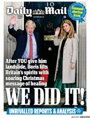 Daily Mail () Newspaper Front Page for 14 December 2019