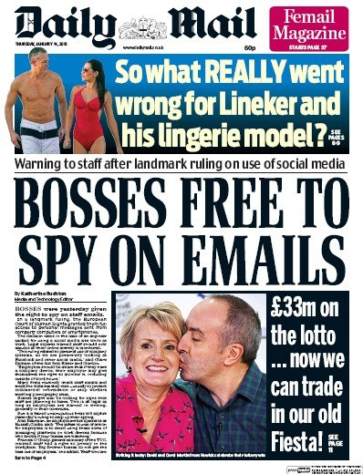 Daily Mail Newspaper Front Page (UK) for 14 January 2016