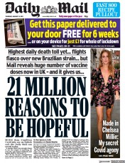 Daily Mail front page for 14 January 2021
