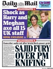 Daily Mail (UK) Newspaper Front Page for 14 February 2020