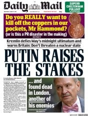 Daily Mail (UK) Newspaper Front Page for 14 March 2018