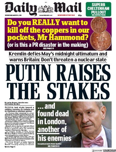 Daily Mail Newspaper Front Page (UK) for 14 March 2018