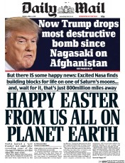 Daily Mail (UK) Newspaper Front Page for 14 April 2017