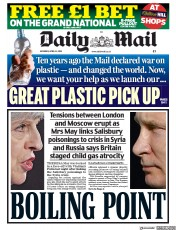 Daily Mail (UK) Newspaper Front Page for 14 April 2018