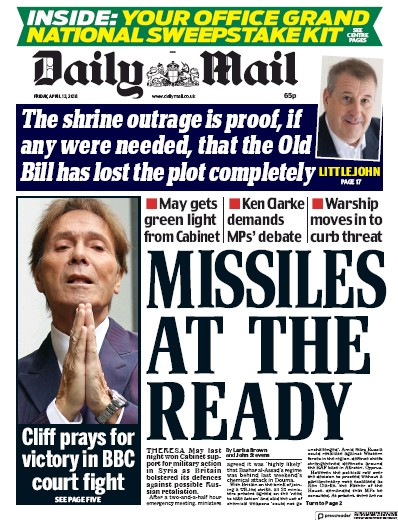 Daily Mail Newspaper Front Page (UK) for 14 April 2018