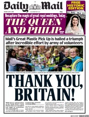 Daily Mail (UK) Newspaper Front Page for 14 May 2018