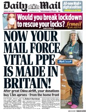 Daily Mail front page for 14 May 2020
