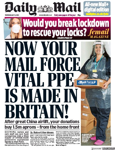 Daily Mail Newspaper Front Page (UK) for 14 May 2020