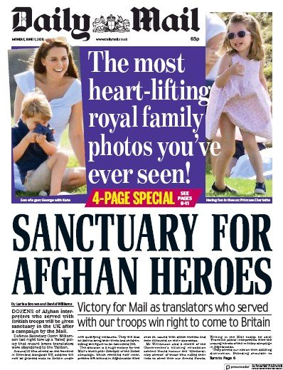 Daily Mail Newspaper Front Page (UK) for 14 June 2018