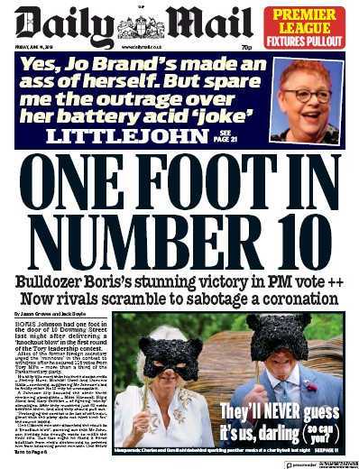 Daily Mail Newspaper Front Page (UK) for 14 June 2019