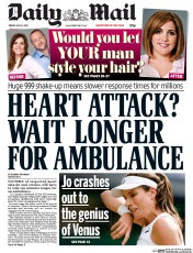 Daily Mail (UK) Newspaper Front Page for 14 July 2017
