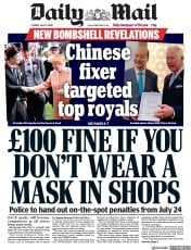 Daily Mail front page for 14 July 2020