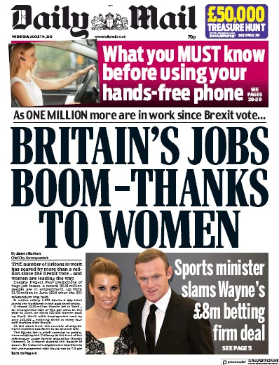 Daily Mail Newspaper Front Page (UK) for 14 August 2019