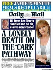 Daily Mail Newspaper Front Page (UK) for 15 October 2012