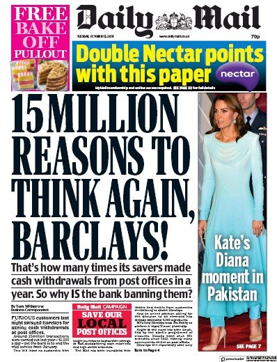 Daily Mail Newspaper Front Page (UK) for 15 October 2019