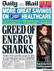 Daily Mail () Newspaper Front Page for 15 November 2012
