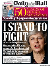 Daily Mail (UK) Newspaper Front Page for 15 November 2018