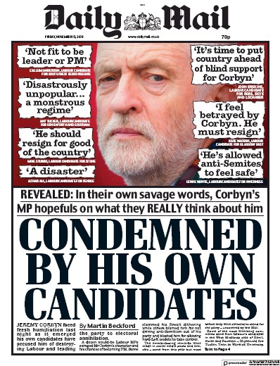 Daily Mail Newspaper Front Page (UK) for 15 November 2019