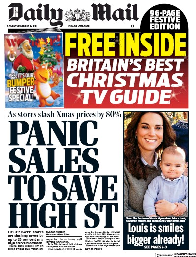 Daily Mail Newspaper Front Page (UK) for 15 December 2018