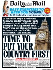 Daily Mail (UK) Newspaper Front Page for 15 January 2019