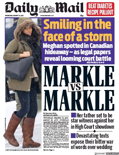 Daily Mail Newspaper Front Page (UK) for 15 January 2020