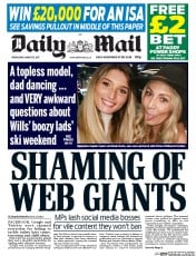 Daily Mail (UK) Newspaper Front Page for 15 March 2017