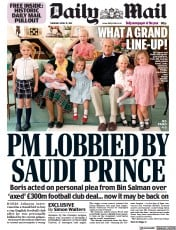 Daily Mail front page for 15 April 2021