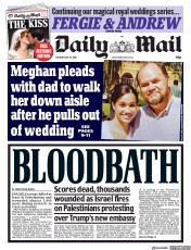 Daily Mail (UK) Newspaper Front Page for 15 May 2018